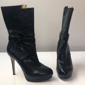Nine West Sexy Black Leather Platform Heeled Boots